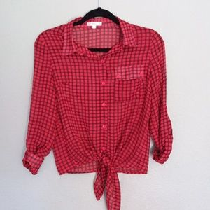 Timing red plaid tie-front blouse size small